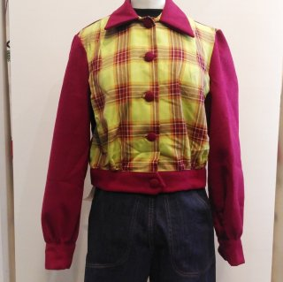 Wine and Green Plaid 1940s Jacket