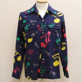Vintage Atomic Style Box Shirt Musical Note L/S