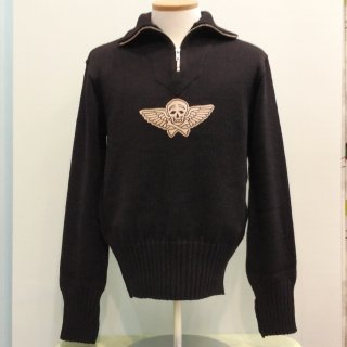 <img class='new_mark_img1' src='//img.shop-pro.jp/img/new/icons6.gif' style='border:none;display:inline;margin:0px;padding:0px;width:auto;' />1940s Motorcycle Wool Knit with Skull Patch