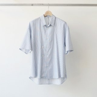 THEE / double-buttoned short sleeve shirts (blue×white)