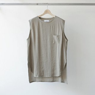 THEE / linen long N/S tee (beige)