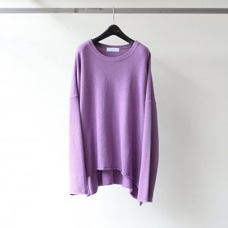 THEE - long sleeve side slit knit t-shirts (PURPLE)