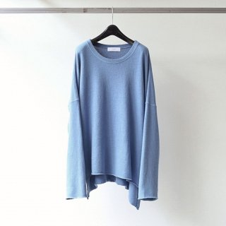 THEE - long sleeve side slit knit t-shirts (BLUE)