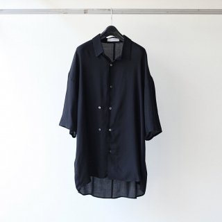 THEE - double-buttoned short sleeve shirts (BLACK)