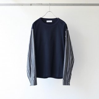 THEE - stripe long sleeve t-shirts (navy×black stripe)