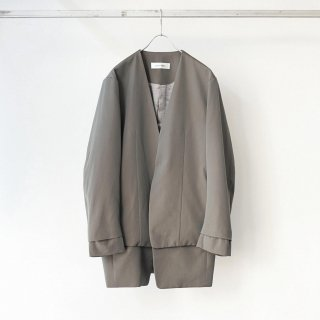 prasthana - 残響 lapelless long jacket (gray iridescent)