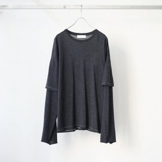 THEE - merino wool double sleeve knit (charcoal)