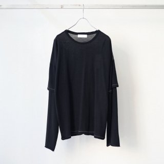 THEE - merino wool double sleeve knit (black)