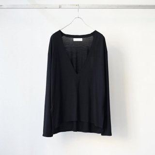 THEE - wool deep v-neck knit (black)