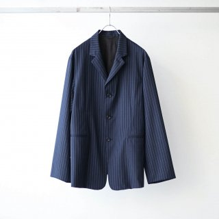 THEE - 3 button box jacket (navy stripe)