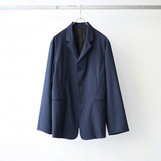 THEE - 3 button box jacket (navy stripe)