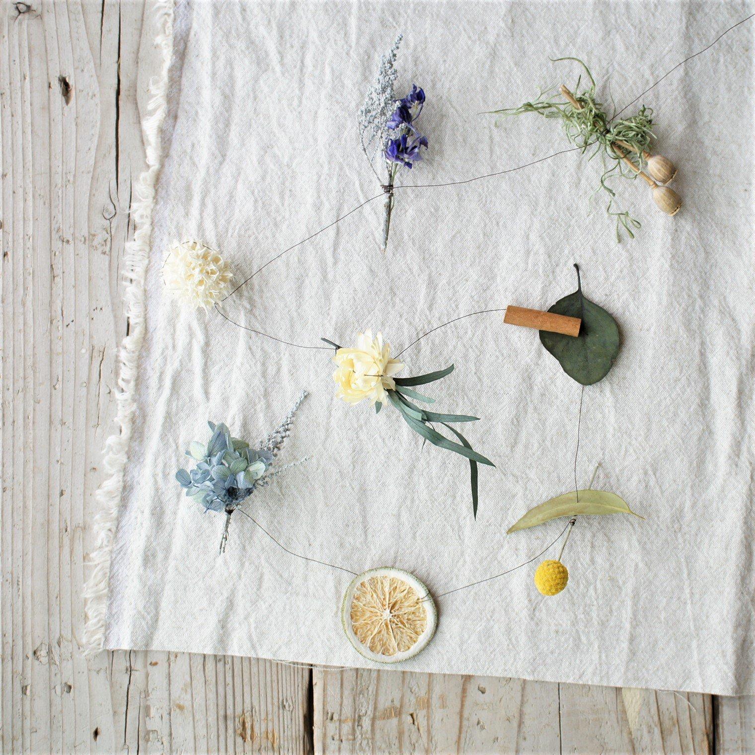 おまかせ植物のモビール(ブルー系)