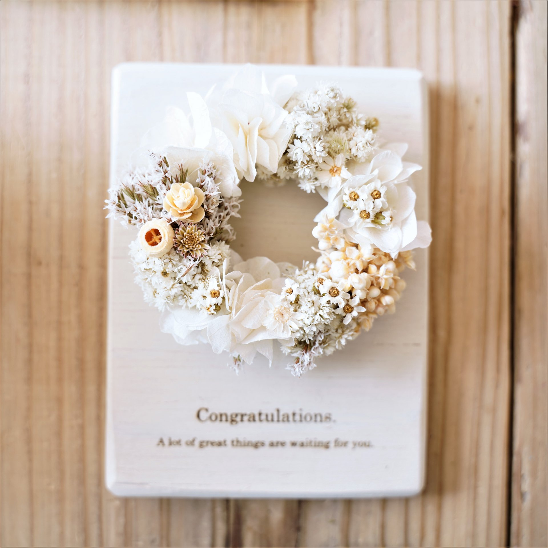【結婚祝い】木のプレートリース