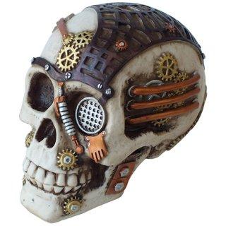 スチームパンク スカルヘッド サイドボックス Steampunk Skull Head Side Box Statue