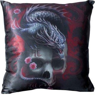Anne Stokes イースタンドラゴンスカル サテンクッション Eastern Dragon Skull