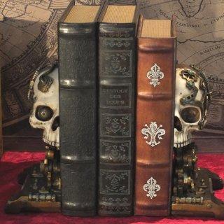 スチームパンクスカルヘッド ブックエンドセット Steampunk Cranial Skull Bookends