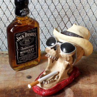 スカル灰皿 Cowboy Skull Biker Ashtray