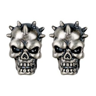 スカルピアス Spike Skull Stud Earrings