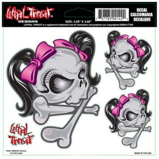 Lethal Threat Designs スカルデカールシール Pink Ribbon Skull