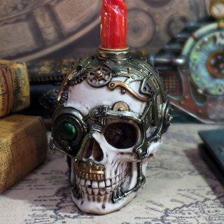 スチームパンクスカルボックス&キャンドルホルダー Steampunk Skull Trinket Box and Candle Holder