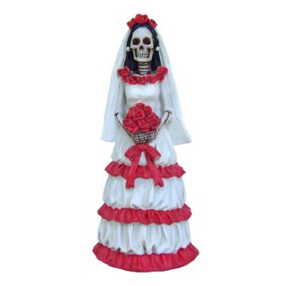 スカル花嫁フィギュア Day of The Dead Dod Red And White Bride Statue
