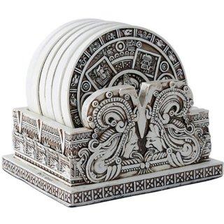 マヤ文明 アステカ(暦石)カレンダー コースターセット6P Aztec Bone Resin Calendar Coaster Set