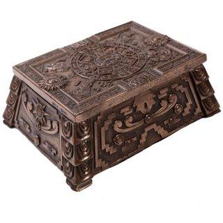 マヤ文明 アステカ(暦石)カレンダー スクエアボックス ブロンズ Aztec Bronze Square Trinket Box