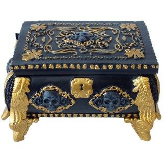ゴシックスカルジュエリーボックス・ミラー付 GD&BK Gold and Black Skull Jewelry Box with Mirror