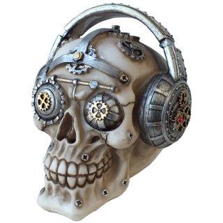 スチームパンクギア スカルヘッド ヘッドフォンスカル Steampunk Gear Skull with Headphones
