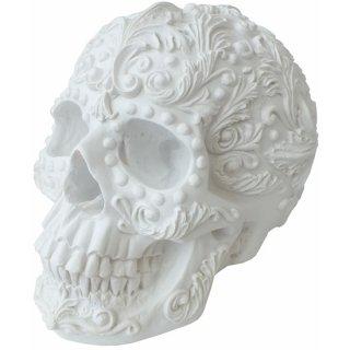 ロココスカル ホワイトフラワー スカルヘッド Rococo White Floral Skull Statue