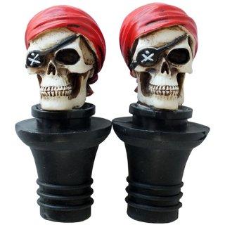 パイレーツ(海賊)スカル ワインストッパー(ペア) Pirate Skull Wine Stopper 2P