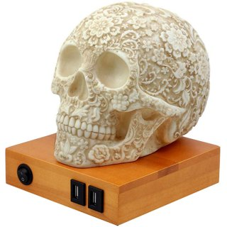 フローラルスカルシェード テーブルランプ Day of the Dead Floral Skull Lamp
