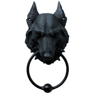 ゴシックウルフガーゴイルドアノッカー Gothic Wolf Gargoyle Door Knocker