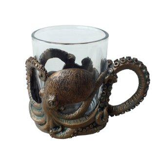 オクトパス(タコ) レジンカップホルダー付 ガラスマグ 3D Octopus Resin Cup Holder Glass Mug
