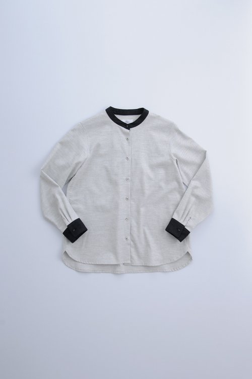brushed cotton cleric shirt / gray