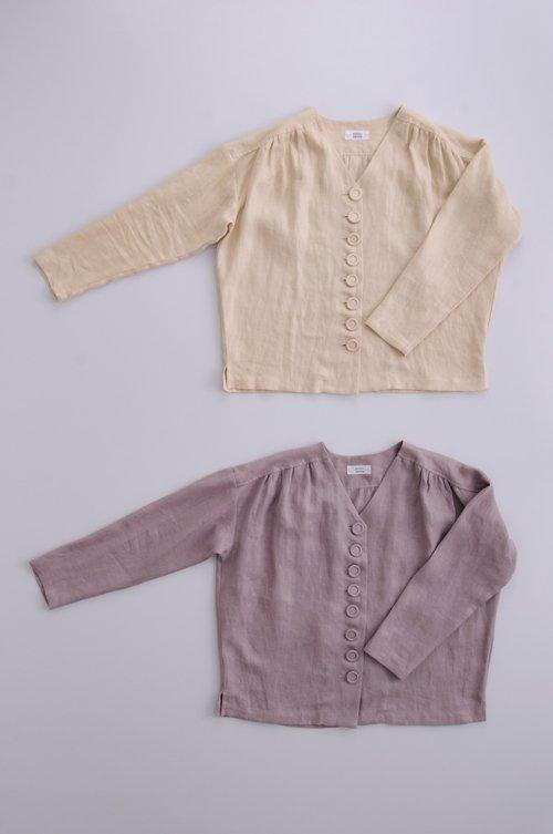 kurumi button linen classical blouse