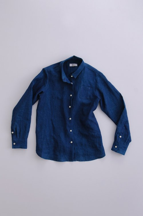 indigo linen shirt