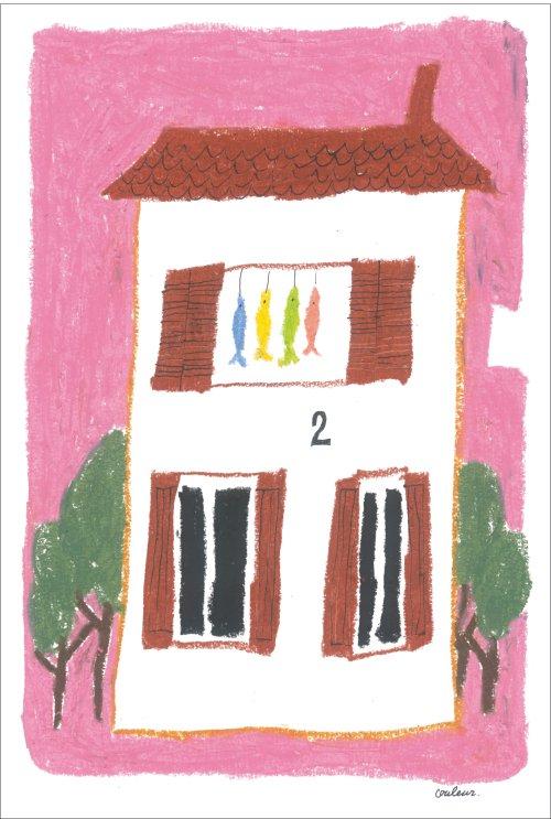 ピンクの空の下の漁師の家