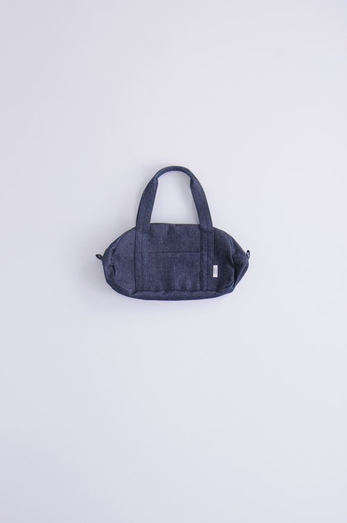 cotton denim boston bag (S)