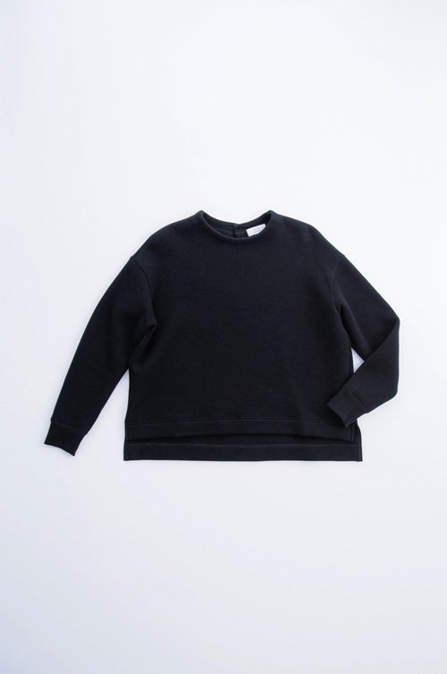 cotton fleece lining pullover / black
