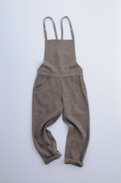 hemp wool salopette pants / brown【94cm ver.】