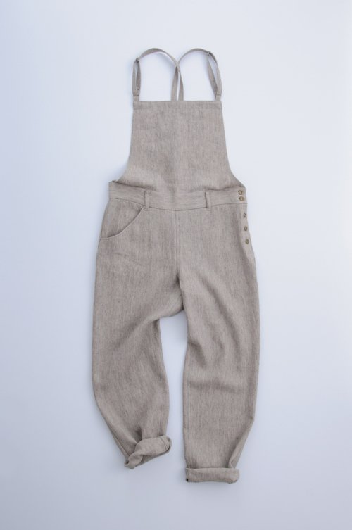 hemp wool salopette pants / gray