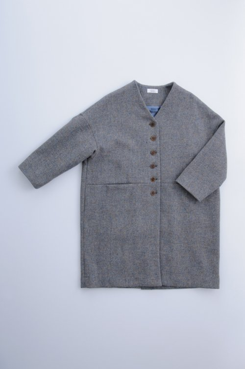 HARRIS TWEED cocoon coat / gray sax