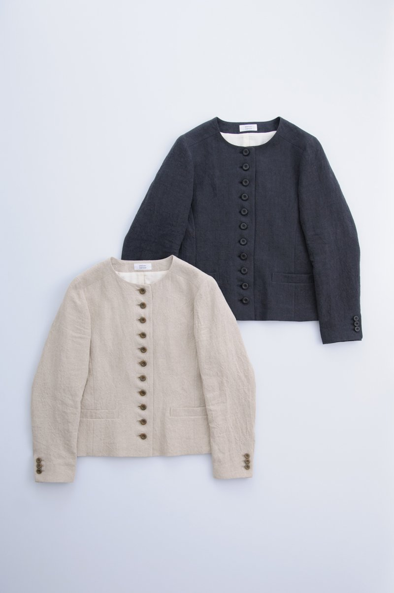 natural linen cropped jacket