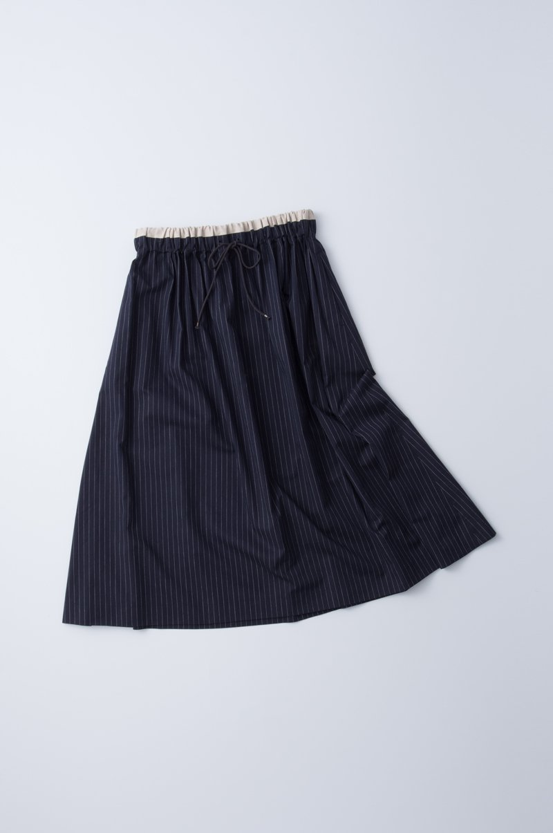 "cotton /  gather long skirt ""stripe"""