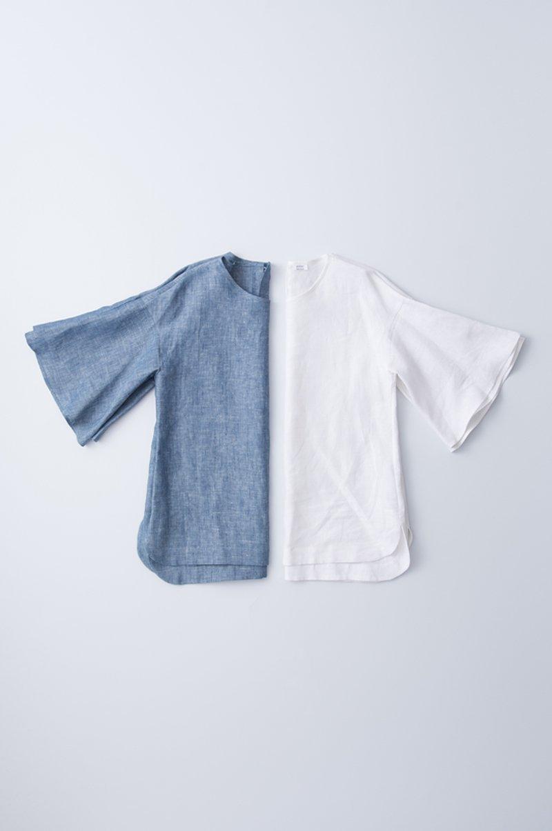 bell-sleeve linen blouse
