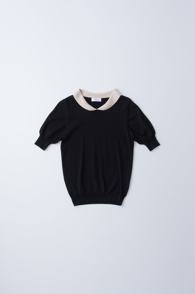 "maru collar cotton knit  ""black"""