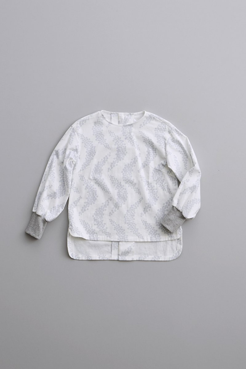 cotton ~moon~ smock blouse plus rib / white