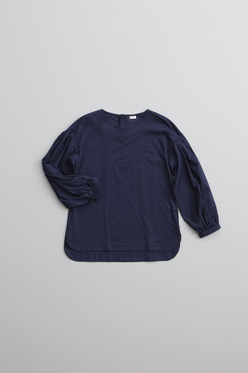 cotton balloon sleeve blouse / navy