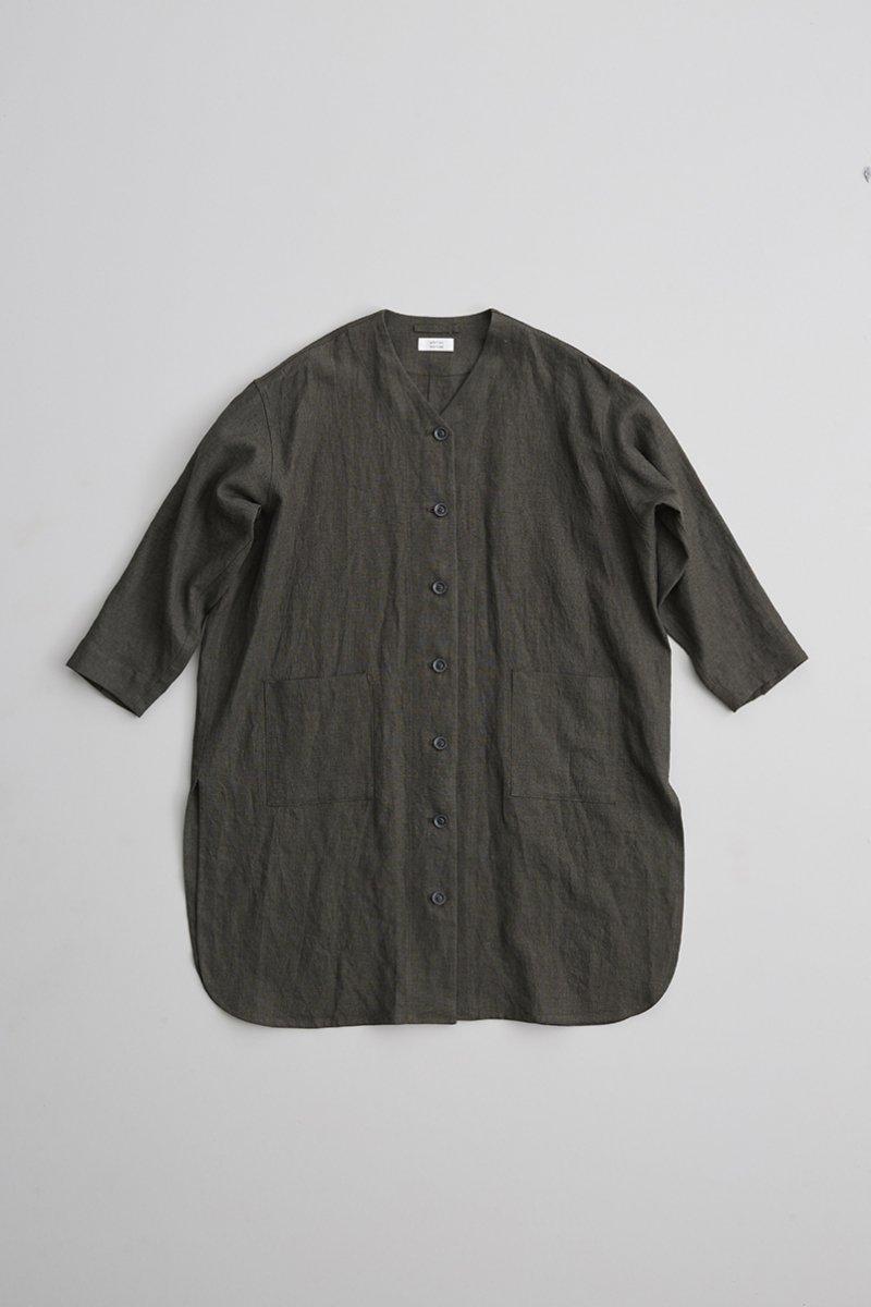 linen canvas V neck long shirt / sumikuro